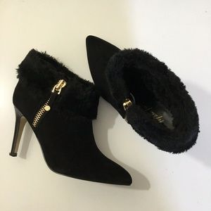 Marc Fisher Black Suede Faux Fur Ankle Booties
